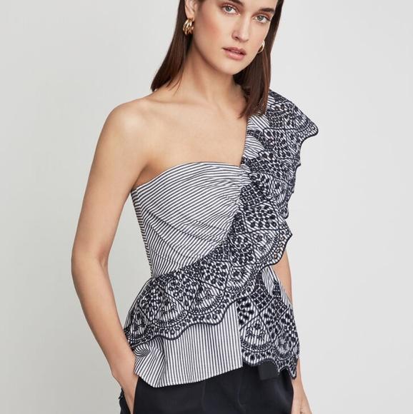BCBGMAXAZRIA Womens One Shoulder Embroidered Stripe Dress